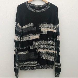 NWT Kaii fuzzy striped oversized sweater medium
